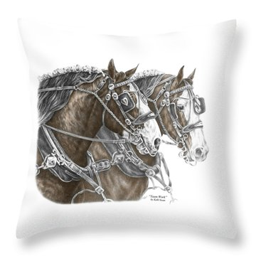 Team Work - Clydesdale Draft Horse Print Color Tinted Throw Pillow
