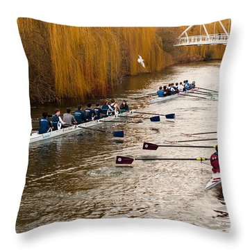 Teams Of Rowers On River Cam Throw Pillow