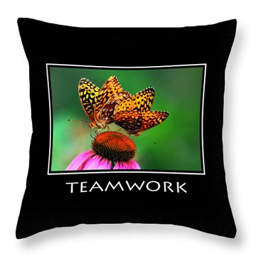 Teamwork Inspirational Motivational Poster Art Throw Pillow by Christina Rollo