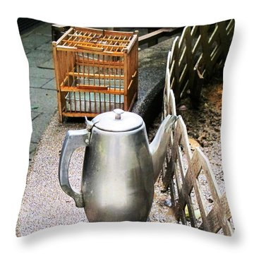 Teapot And Birdcage Throw Pillow by Ethna Gillespie