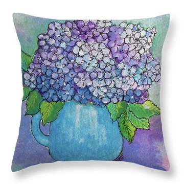 Throw Pillow featuring the painting Teapot Hydranger by Rosemary Aubut