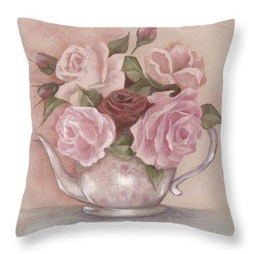 Teapot Roses Throw Pillow