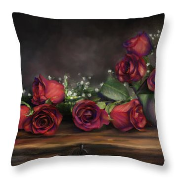 Throw Pillow featuring the digital art Teapot Roses by Susan Kinney