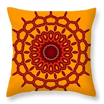 Teardrop Fractal Mandala Throw Pillow