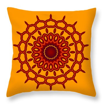 Teardrop Fractal Mandala Throw Pillow