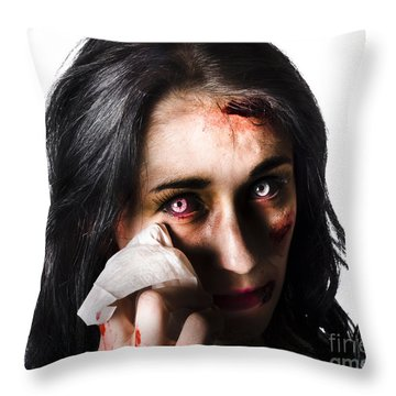 Tearful Woman With Injuries Throw Pillow