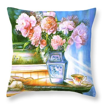 Teatime And Dreams Throw Pillow by Patricia Schneider Mitchell