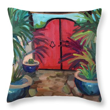 Throw Pillow featuring the painting Tecate Garden Gate by Diane McClary