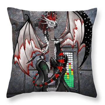 Tech-n-dustrial Music Dragon Throw Pillow