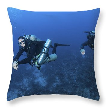 Technical Divers With Equipment Throw Pillow by Karen Doody