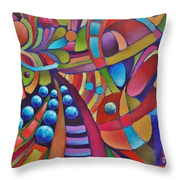 Technicolor Bloom Throw Pillow by Jason Williamson
