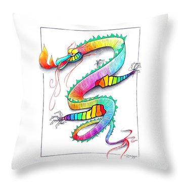 Technicolor Dragon -- Rainbow-colored Whimsical Dragon  Throw Pillow by Jayne Somogy