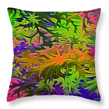 Technicolor Leaves Throw Pillow by Patricia Griffin Brett