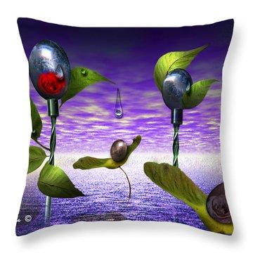 Techno Nature - Flower Drills Throw Pillow by Billie Jo Ellis