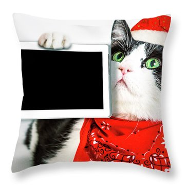Technology Christmas Cat Throw Pillow