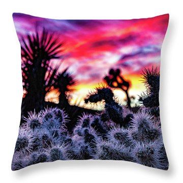 Teddy Bear Cholla Throw Pillow