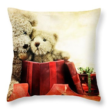 Teddy Bear Christmas Throw Pillow