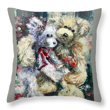 Teddy Bear Honeymooon Throw Pillow
