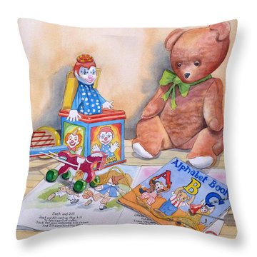 Teddy Bear With Books And Toys Throw Pillow