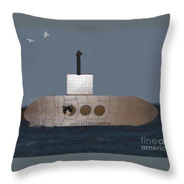Teddy In Submarine Throw Pillow