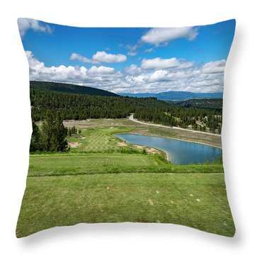 Throw Pillow featuring the photograph Tee Box With As View by Darcy Michaelchuk