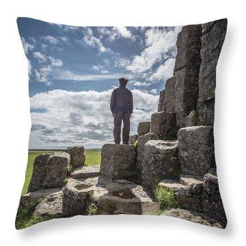 Throw Pillow featuring the photograph Teen Boy Standing On Basalt Rocks by Edward Fielding