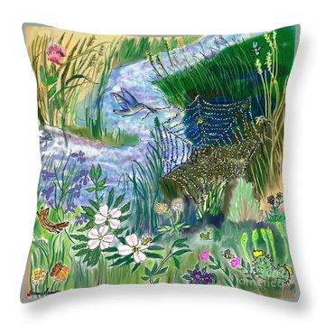 Teen Drawing -- Hummingbird Collecting Silk Throw Pillow