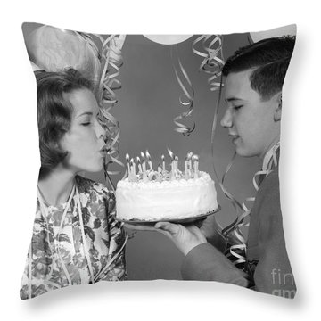 Teen Girl Blowing Out Birthday Candles Throw Pillow