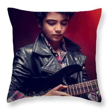 Teen Guy Playing On Guitar Throw Pillow