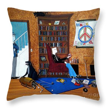 Teen Sitting In Chair Enjoying A Brandy In Father's Den Throw Pillow by John Lyes