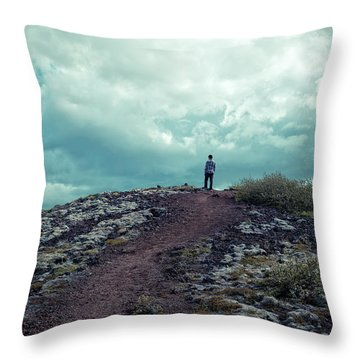Throw Pillow featuring the photograph Teenager On A Hiking Trail In Iceland by Edward Fielding