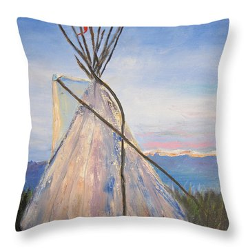 Teepee Dawn Throw Pillow by Kathryn Barry