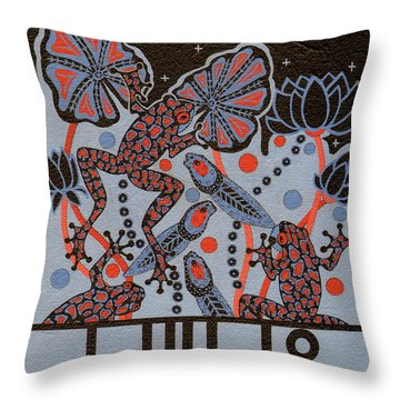 Throw Pillow featuring the painting Tehteu Little Green Frogs by Chholing Taha