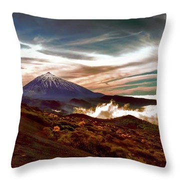 Teide Volcano - Rolling Sea Of Clouds At Sunset Throw Pillow by Menega Sabidussi