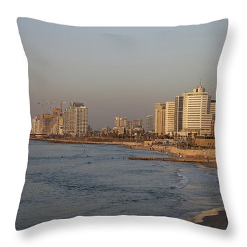 Tel Aviv Coast. Throw Pillow by Shlomo Zangilevitch