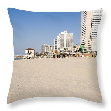 Tel Aviv Coastline Throw Pillow by Ilan Rosen
