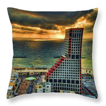 Throw Pillow featuring the photograph Tel Aviv Lego by Ron Shoshani