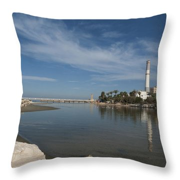 Throw Pillow featuring the photograph Tel Aviv Old Port 1 by Dubi Roman