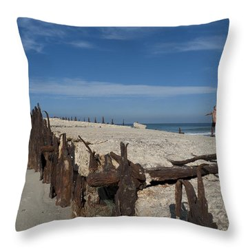 Throw Pillow featuring the photograph Tel Aviv Old Port 2 by Dubi Roman