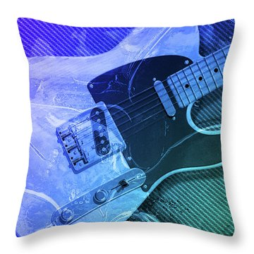 Tele Blue Throw Pillow by WB Johnston