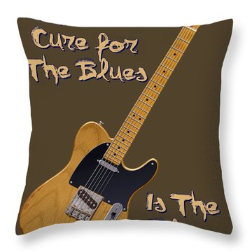 Tele Blues Cure Throw Pillow
