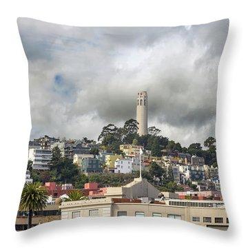 Telegraph Hill Neighborhood Homes In San Francisco Throw Pillow