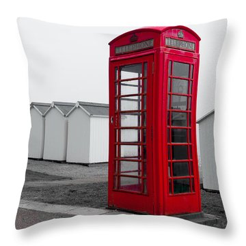 Telephone Box By The Sea I Throw Pillow