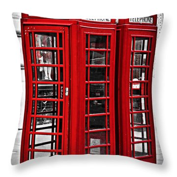 Telephone Boxes In London Throw Pillow by Elena Elisseeva