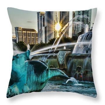 telephoto look at Chicago's Buckingham Fountain  Throw Pillow