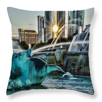 telephoto look at Chicago's Buckingham Fountain  Throw Pillow