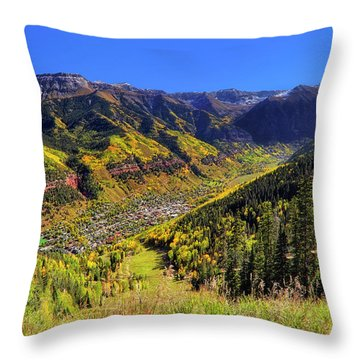 Telluride In Autumn - Colorful Colorado - Landscape Throw Pillow by Jason Politte