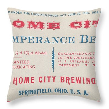 Throw Pillow featuring the photograph Temperance Beer Label by Tom Mc Nemar