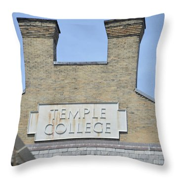 Temple College Throw Pillow by Bill Cannon