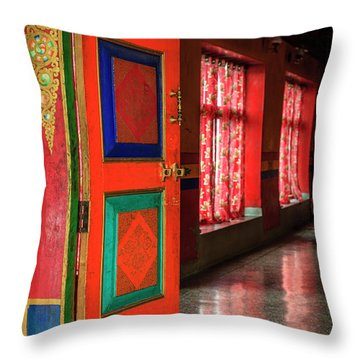 Throw Pillow featuring the photograph Temple Door by Alexey Stiop